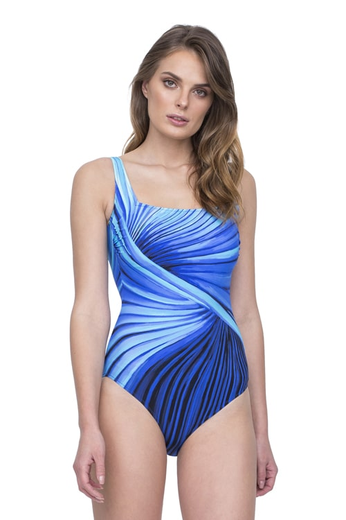 buy the Gottex Northern Lights Square Neck Swimsuit in Blue