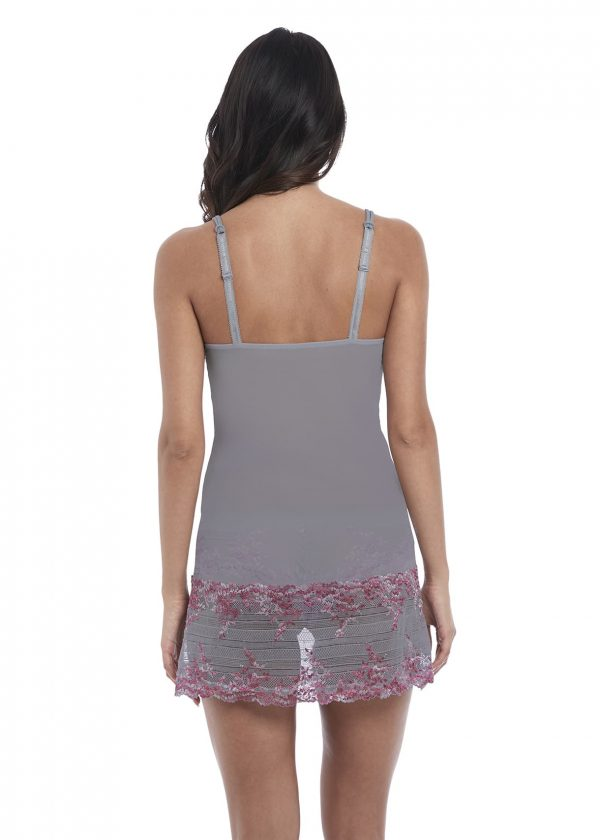 back view of Wacoal Embrace Lace Chemise in Lilac Grey