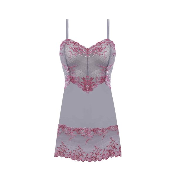 close up of Wacoal Embrace Lace Chemise in Lilac Grey