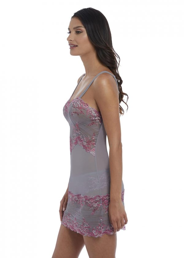 side view of Wacoal Embrace Lace Chemise in Lilac Grey