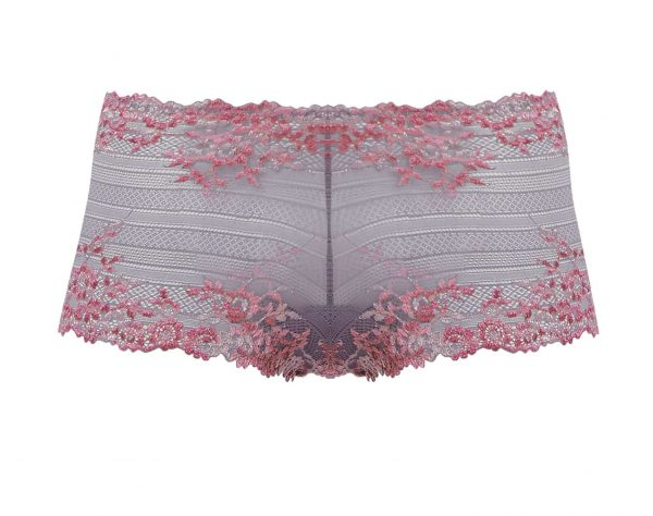 close up of Wacoal Embrace Lace Short in Lilac Grey