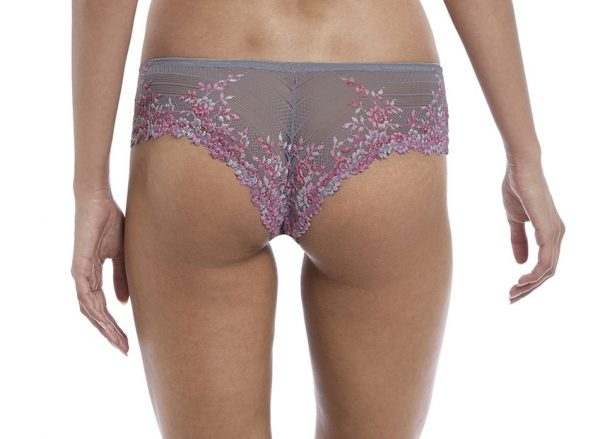 back view of Wacoal Embrace Lace Tanga in Lilac Grey