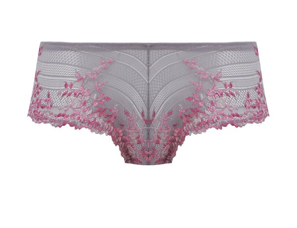 close up of Wacoal Embrace Lace Tanga in Lilac Grey