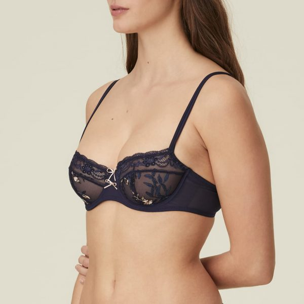 side view of Marie Jo Sakura Balcony Bra in Evening Blue