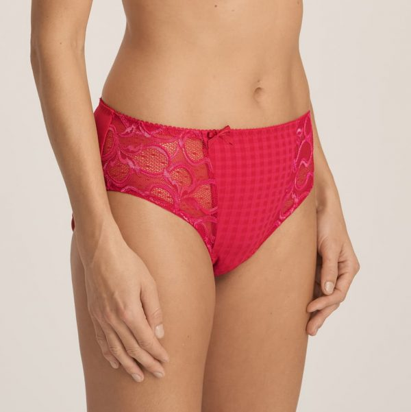side view of PrimaDonna Madison Full Brief in Persian Red
