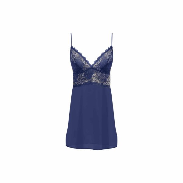 close up of Wacoal Lace Perfection Chemise in Sapphire Blue