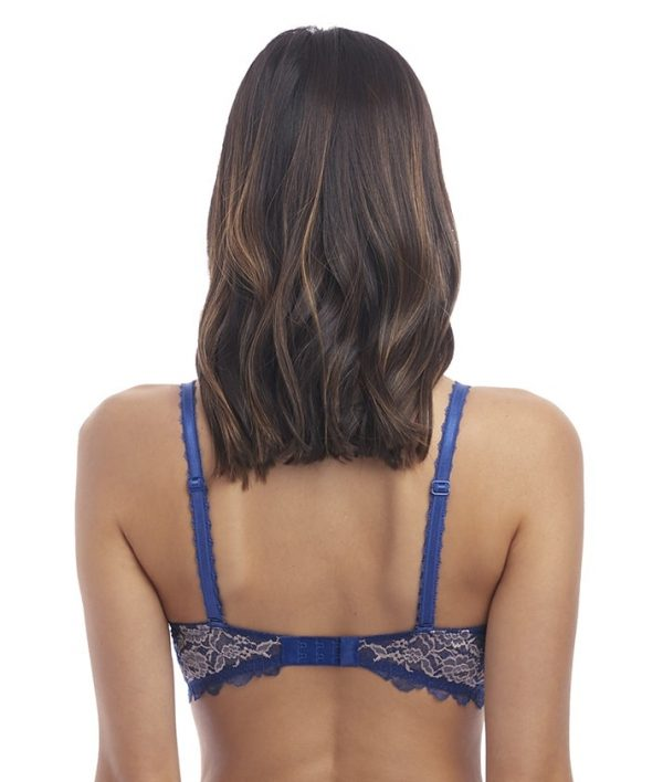 back view of Wacoal Lace Perfection Contour Bra in Sapphire Blue