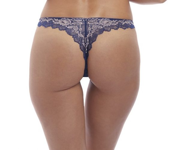 back view of Wacoal Lace Perfection Tanga in Sapphire Blue