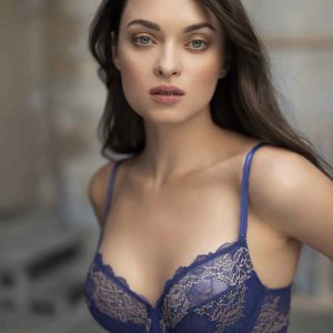 wearing the Wacoal Lace Perfection Wire Bra in Sapphire Blue