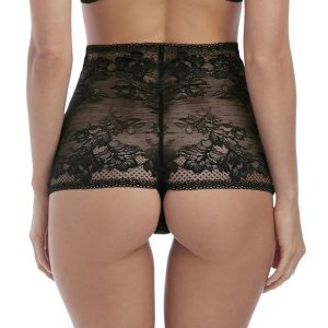 back view of Wacoal Lace to Love High Waist Thong in Black