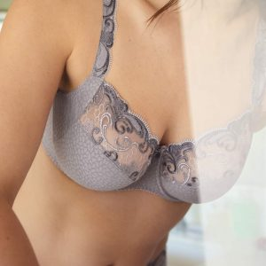 wearing the PrimaDonna Candle Night Full Cup Bra in Powder Grey