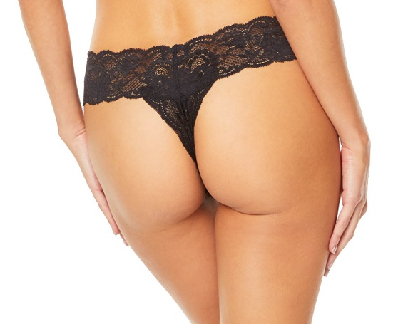 back view of Cosabella Never Say Never Cutie Thong in Black
