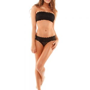 wearing the Cosabella Never Say Never Flirtie Bandeau in Black with hotpant