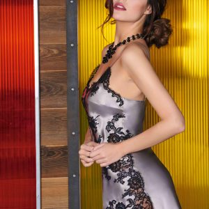 buy the Marjolaine Gemma Silk Chemise in Lune Noir