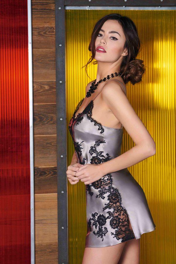 buy the Marjolaine Gemma Silk Chemise in Lune Noir