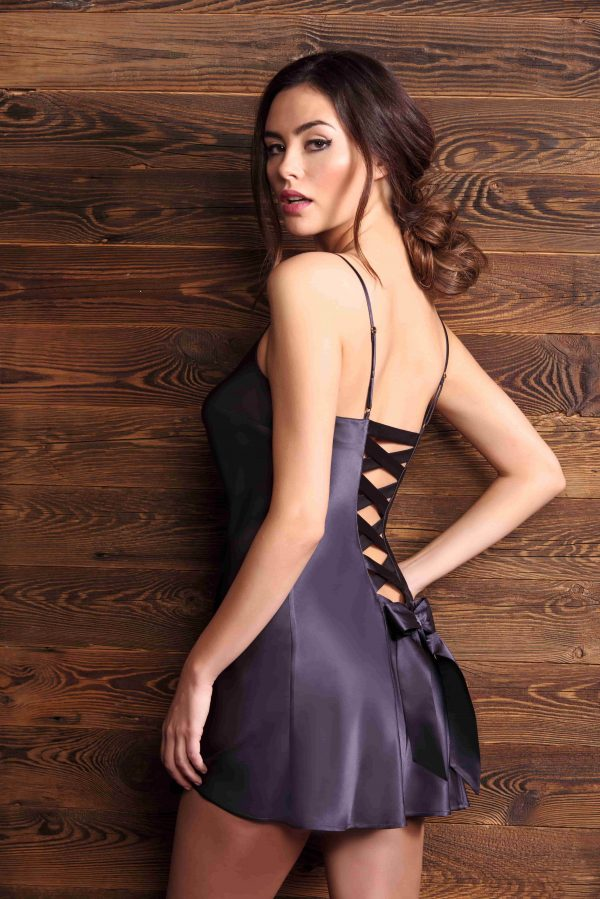 buy the Marjolaine Glycine Bow Chemise in Graphite