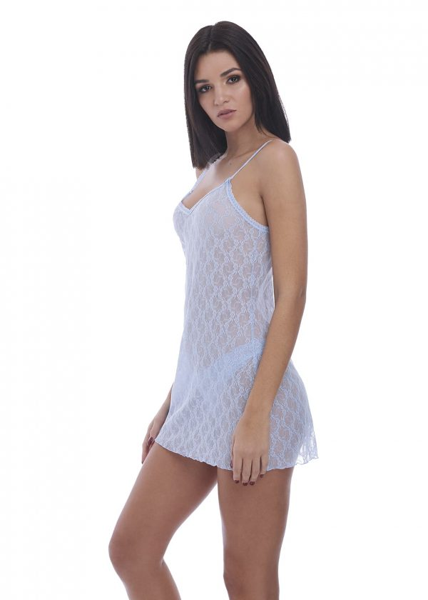 side view of b.tempt'd Lace Kiss Chemise in Serenity