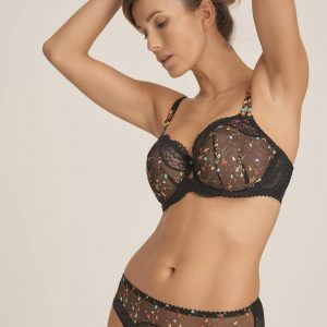 wearing the primadonna midnight garden full cup bra in black with PrimaDonna Midnight Garden Rio Brief in Black