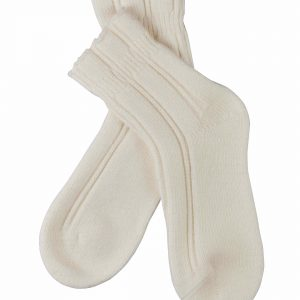 close up of Falke Bedsocks in Off White