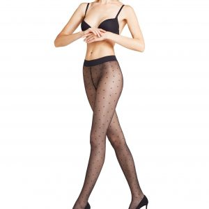 side view of Falke Dot 15 DEN Tights in Black