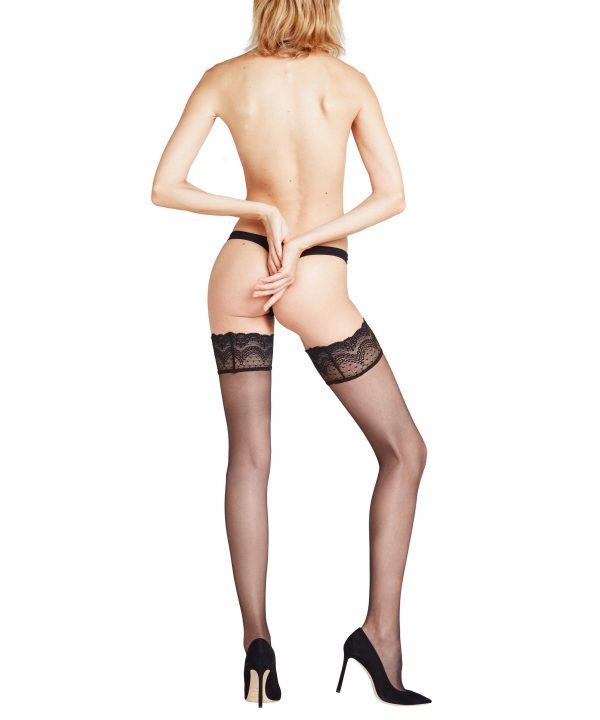 back view of Falke Invisible Deluxe 8 DEN Stay Ups in Black
