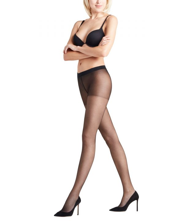 side view of Falke Invisible Deluxe 8 DEN Tights in Black