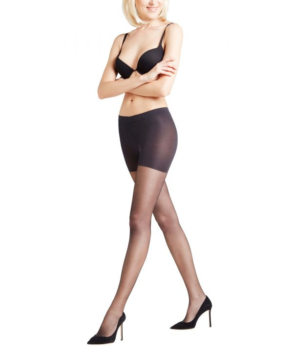 side view of Falke Invisible Deluxe Shaping 8 DEN Tights in Black