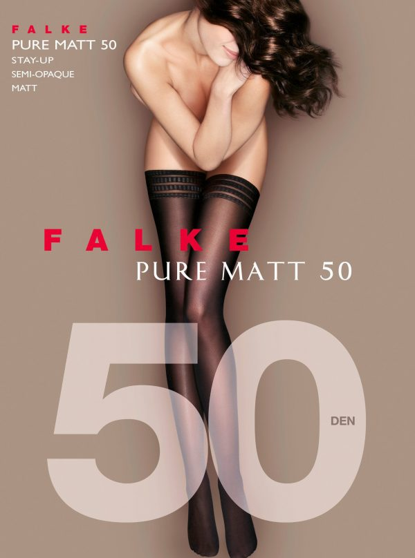 buy the Falke Pure Matt 50 DEN Stay Ups in Black