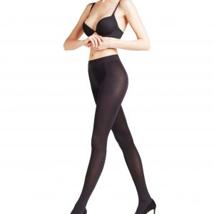 side view of Falke Seidenglatt 80 DEN Tights in Black
