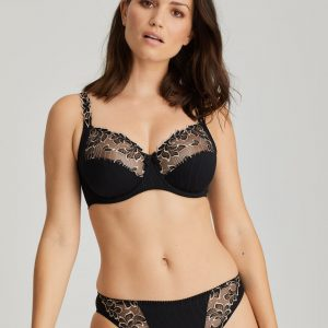wearing the PrimaDonna Deauville Rio Brief in Celebration Black with full cup bra