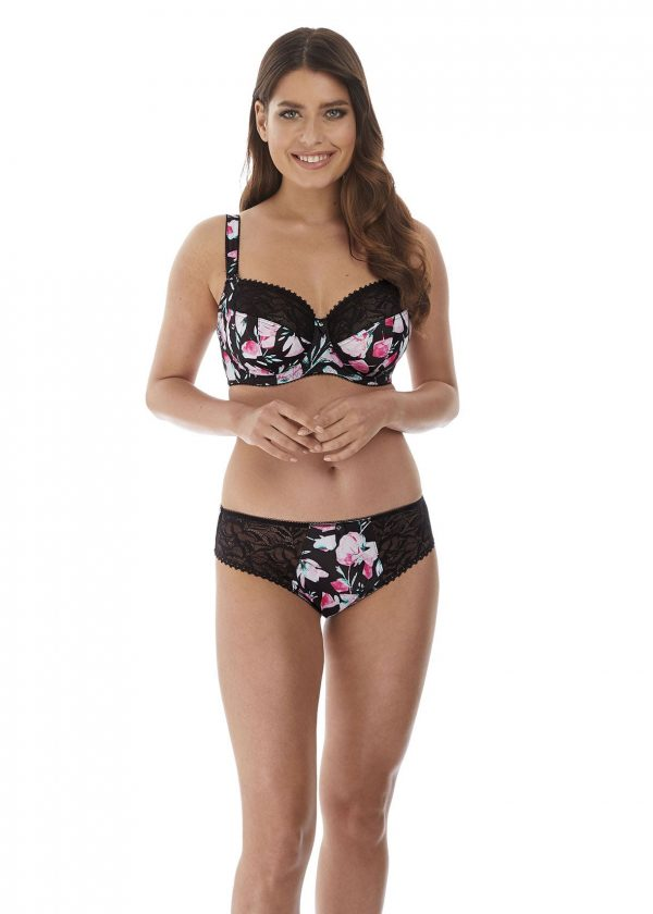 wearing the Fantasie Frances Side Support Bra in Black with brief