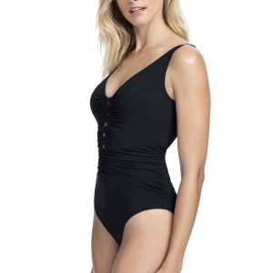 side view of Gottex Profile Date Night V-Neck Swimsuit in Black