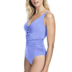 side view of Gottex Profile Date Night V-Neck Swimsuit in Lavender