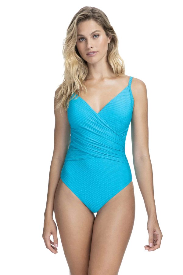 buy the Gottex Profile Ribbons Wrap Swimsuit in Azure