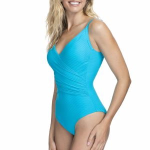 side view of Gottex Profile Ribbons Wrap Swimsuit in Azure