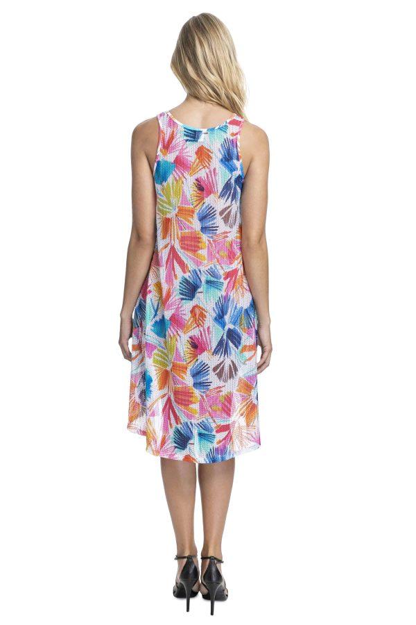 back view of Gottex Profile Splash Mesh Dress in Multi