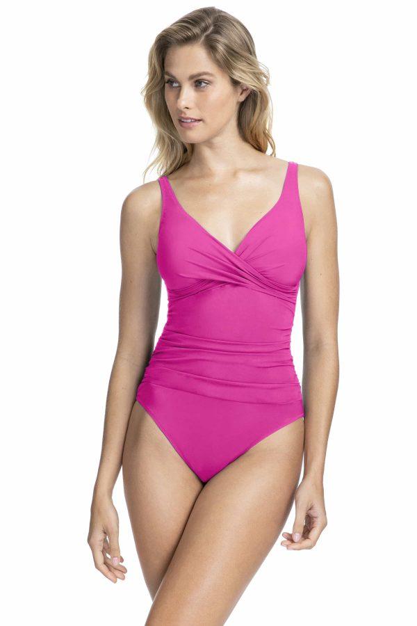 buy the Gottex Profile Tutti Frutti Wrap Swimsuit in Fuchsia