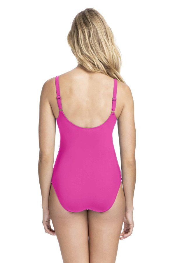 back view of Gottex Profile Tutti Frutti Wrap Swimsuit in Fuchsia