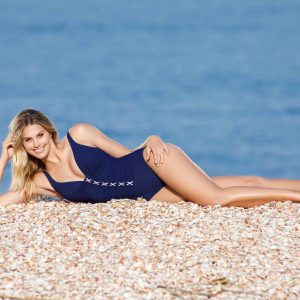 buy the Gottex Profile Moto Lace Up Swimsuit in Navy