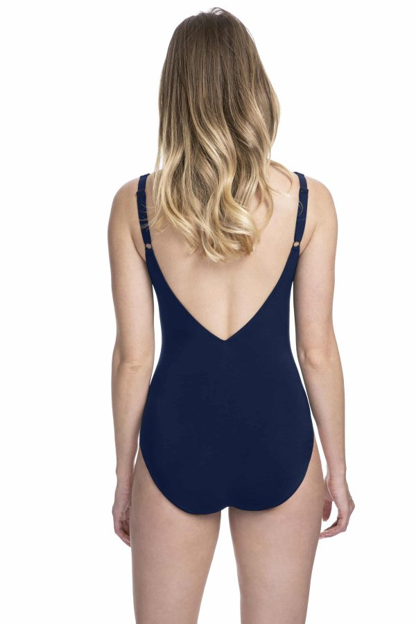 back view of Gottex Profile Moto Lace Up Swimsuit in Navy