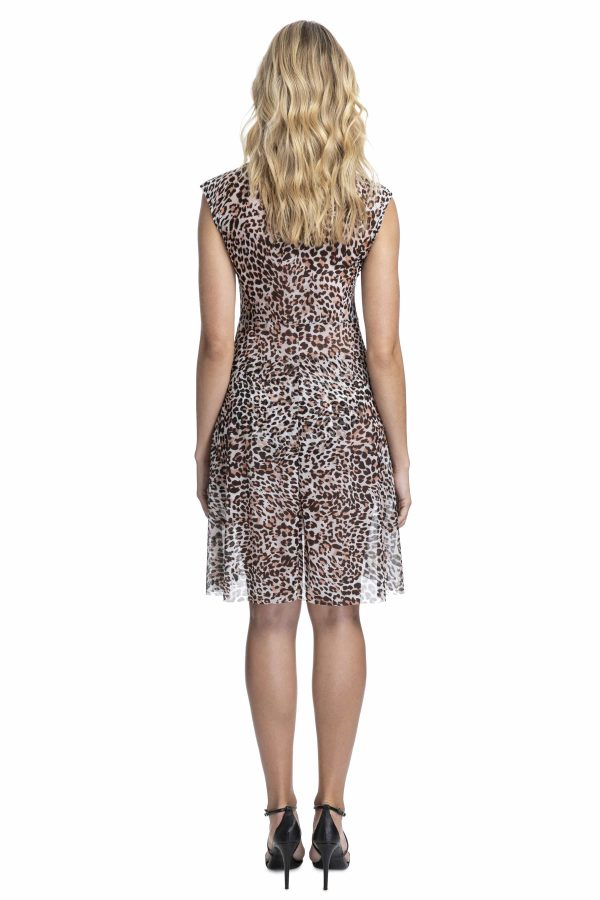 back view of Gottex Profile Wild Thing Mesh Dress in Leopard