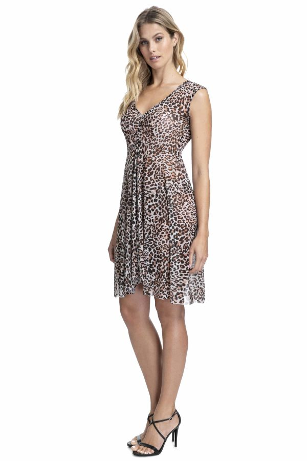 side view of Gottex Profile Wild Thing Mesh Dress in Leopard
