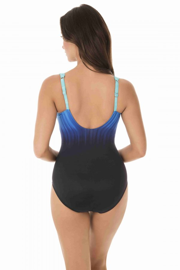 back view of Miraclesuit Belle Trois Siren Swimsuit in Twilight Blue