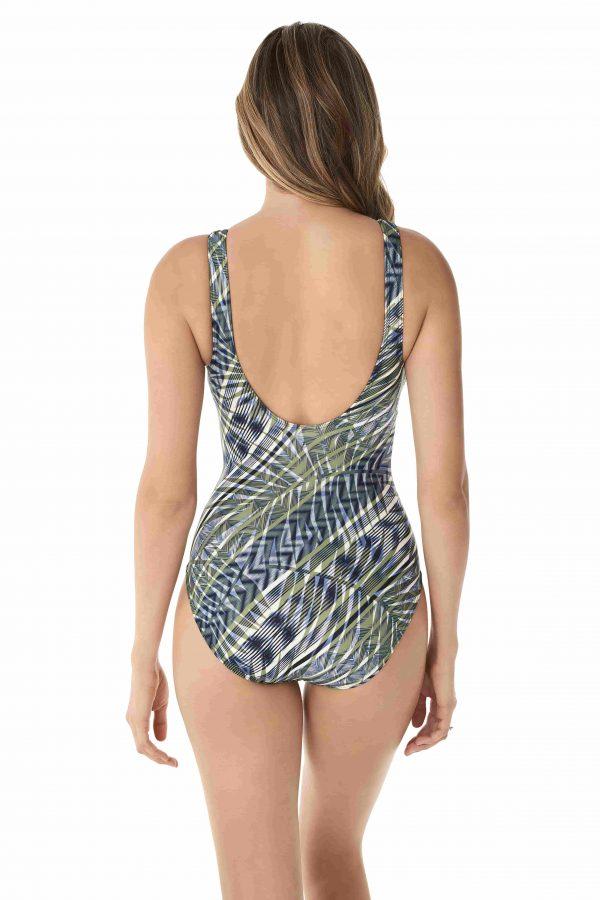 back view of Miraclesuit Monteverde Charmer Swimsuit in Olivetta