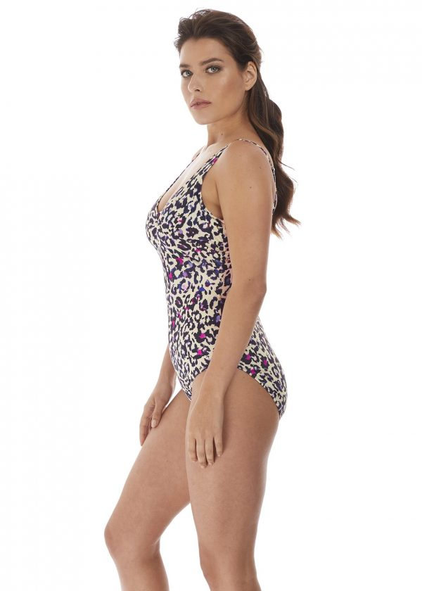 side view of Fantasie Bonito V-Neck Swimsuit in Amethyst