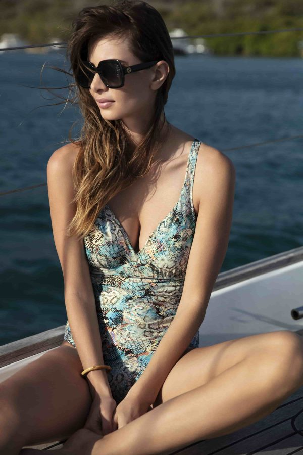 buy the Fantasie Manila Plunge Swimsuit in Iced Aqua