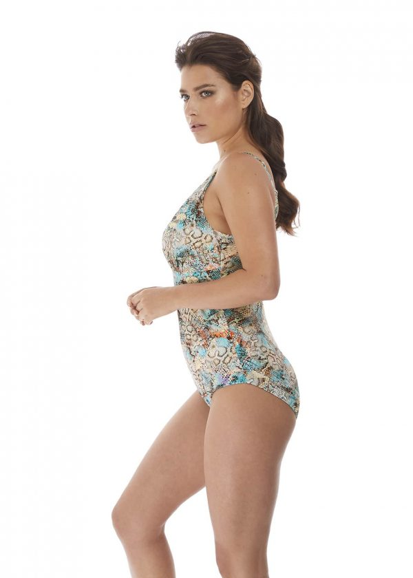 side view of Fantasie Manila Plunge Swimsuit in Iced Aqua