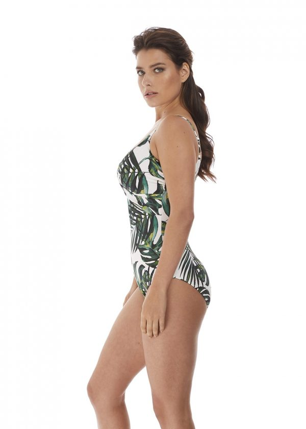 side view of Fantasie Palm Valley Twist Front Swimsuit in Fern