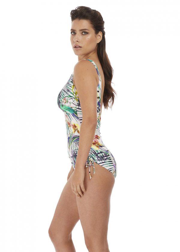 side view of Fantasie Playa Blanca Adjustable Leg Swimsuit in Multi