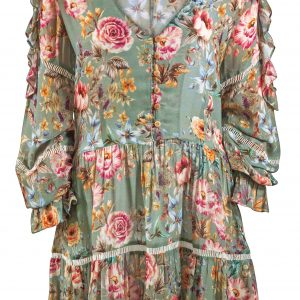 close up of Watercult Boho Blossom Dress in Vintage Garden
